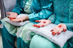 Hands Decorated with Henna Stock Photos