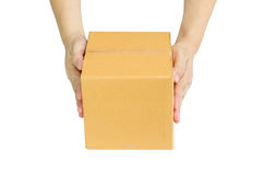 Hands delivery a cardboard box Stock Photography