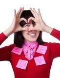 hands den göra en gest flickan för asiatet hjärta henne Royaltyfri Bild