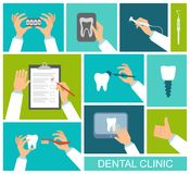 Hands of dentist holding tools, toothbrush, x-ray and questionnaire Stock Image