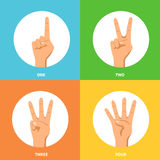 Hands 2x2 Design Concept Set. Counting one two three four hands signs 2x2 design concept on colorful backgrounds flat isolated vector illustration Stock Photos