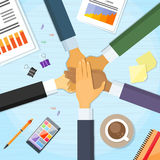Hands Desk Team Leader Business People Pile Hand. Stack On Each Other, Businesspeople Colleagues Concept Success Collaboration Leader Flat Vector Illustration royalty free illustration
