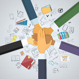 Hands Desk Team Leader Business People Pile Hand. Stack On Each Other, Businesspeople Colleagues Success Collaboration Leader Doodle Hand Draw Sketch Concept Royalty Free Stock Photos