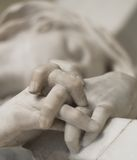 Hands detail. Vigin mary marble sculpture hands detail royalty free stock photos