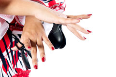 Hands detail of Flamenco dancer in beautiful dress Stock Photo