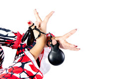 Hands detail of Flamenco dancer in beautiful dress Stock Photos