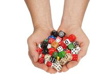 Hands with dice Stock Image