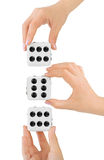 Hands and dices Royalty Free Stock Photography
