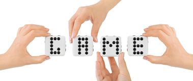 Hands and dices Game Stock Photos