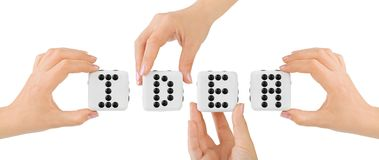 Hands and dices Idea Stock Photo