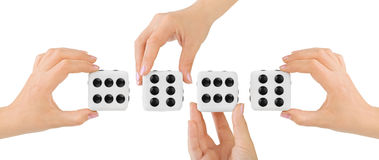 Hands and dices Royalty Free Stock Photo