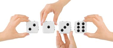 Hands and dices Stock Photography