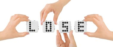 Hands and dices Lose Stock Image
