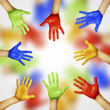 Hands of different colors Stock Photo
