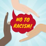 Hands of different races together in a circle. No to racism and discrimination concept. Vector illustration vector illustration