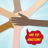 Hands of different races together in a circle. No to racism and discrimination concept. Vector illustration stock illustration