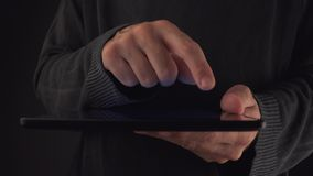 Hands with digital tablet computer stock video