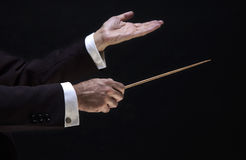 Hands of the director. Hands of the conductor, on black background stock photos