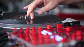 Hands of a Disc Jockey on the Professional Mixing stock video