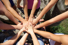 Hands  diverse group of friends Stock Image