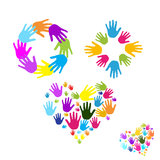 Hands Diversity. Different colored hand arranged in a circle squire and heart shape on a white background Royalty Free Stock Photos