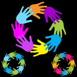 Team. Illustration of many colored hands Stock Photography