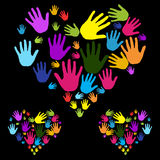 Hands Diversity. Different colored hand arranged in a heart shape on a black background. Great diversity image. A symbol of multicultural environment royalty free illustration