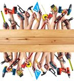 Hands with DIY tools. DIY tools set collage. Isolated on white background royalty free stock image