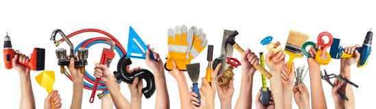 Hands with DIY tools. Set of construction tools. House renovation background Royalty Free Stock Photography
