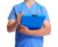 Hands of doctor with clipboard. Hands of doctor with clipboard isolated white background Stock Image