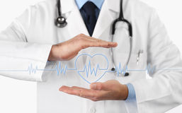 Hands doctor with heart beat icon. Isolated on white royalty free stock photos