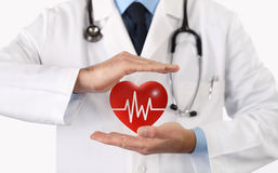 Hands doctor protect heart symbol Royalty Free Stock Photography