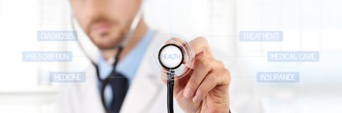 hands Doctor with a stethoscope touch screen medical care concept royalty free stock image