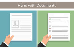 Hands with Documents Stock Image