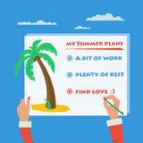 Hands doing sign about summer plans Stock Images