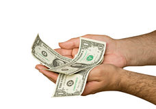 Hands with dollar bills isolated on background Stock Photo