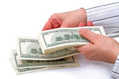 Hands with 100 dollar bills Stock Image
