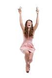 hands dollar flicka henne joyful tonårs- Arkivbild