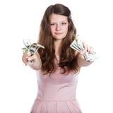 hands dollar flicka henne joyful ton Royaltyfri Fotografi