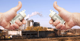 Hands with dollar notes against plant Royalty Free Stock Photography