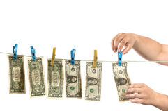 Hands and dollars Royalty Free Stock Photos