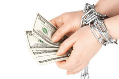 Hands with dollars in chain Stock Images