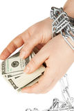 Hands with dollars in chain Stock Photography