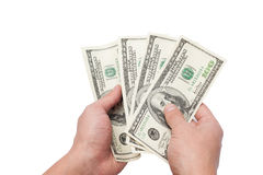 Hands with dollars Stock Images
