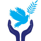 Hands and dove of peace vector illustration Royalty Free Stock Images