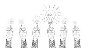 Hands drawing lightbulbs. Hand of a businessman drawing lightbulbs. vector illustration Stock Image
