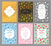 Hands drawing luxury set of wedding invitation patterns. Floral royalty free illustration