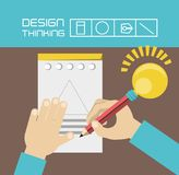 Design thinking concept. Hands drawing on a note icon over brown and blue background colorful design vector illustration Royalty Free Stock Image