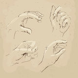 Hands drawing realistic sketch. Hands drawing vector illustration realistic sketch Royalty Free Stock Photo