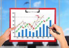 Hands drawing stock chart Stock Photo